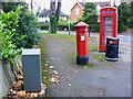 SO9523 : Penfold pillar box, K6 telephone box, a litter bin and a grey box, Evesham Road, Cheltenham by Brian Robert Marshall