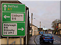 "J4059 : ""C"" road sign, Saintfield by Albert Bridge"