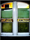 TQ2775 : Old Glazing in an office on the Brighton platform at Clapham Junction by tristan forward
