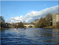NZ0416 : River Tees below the County bridge by Andy Waddington