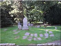 NN8666 : Gravestones at St. Bride's church Blair Castle by PAUL FARMER