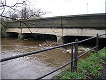 SE1437 : Baildon Bridge & River Aire after heavy rainfall - off Otley Road by Betty Longbottom