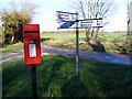 TM3169 : Roadsign & Pound Corner Postbox by Adrian Cable