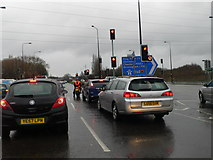 SJ7993 : The A56 near Junction 7 of the M60 by Eirian Evans