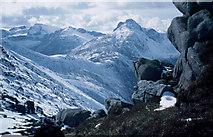 NR9743 : Cir Mhor from the Mullach Buidhe - North Goat Fell ridge, April 1986 by Donald MacDonald