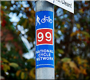 J3673 : Cycle route sticker, Belfast by Albert Bridge
