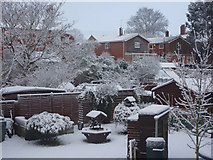 TM0855 : Snow scene - front room view by Andrew Hill