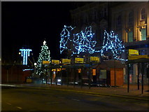 SZ0891 : Bournemouth: Gervis Place bus stops and Christmas lights by Chris Downer