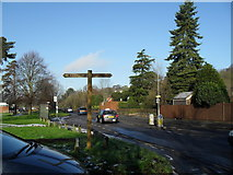 SU9948 : Long distance footpath sign in Shalford Road by Basher Eyre