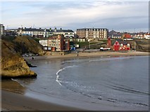 NZ3671 : View north across Cullercoats Bay by Andrew Curtis