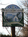TF7105 : Barton Bendish village sign (close-up) by Evelyn Simak