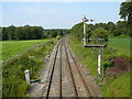 SJ7174 : Railway line south west of Plumley as seen from footbridge by Colin Park