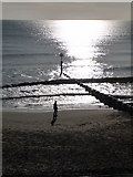 SZ1191 : Boscombe: a silhouette in the sand by Chris Downer