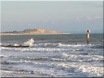 SZ1191 : Boscombe: view of Hengistbury Head over rough sea by Chris Downer