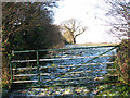 TM1496 : Gate on footpath to Manor Farm by Evelyn Simak