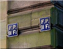 J3372 : Old fire point signs, Belfast by Albert Bridge