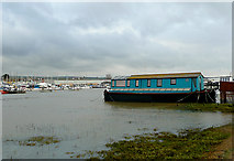 TQ2104 : Houseboat and the River Adur, Shoreham Beach, West Sussex by Roger  Kidd
