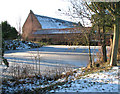 TM3696 : Frozen pond by Hales Great Barn by Evelyn Simak