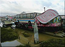 TQ2104 : A very distinctive houseboat at Shoreham Beach, West Sussex by Roger  Kidd