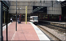 SJ8499 : Manchester Victoria: first week of Metrolink by Dr Neil Clifton