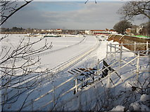 SJ4065 : The Roodee Racecourse in the snow by John S Turner