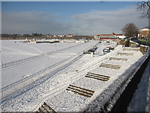 SJ4065 : The snowy finishing straight of Chester Racecourse by John S Turner