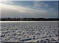 TM0972 : View across open snow covered field by Andrew Hill