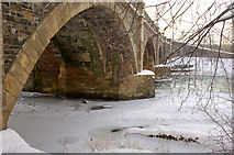 NT2540 : Partly frozen River Tweed at Peebles bridge by Jim Barton