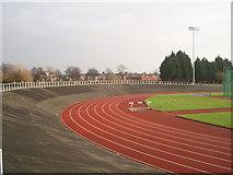 NZ5019 : Clairville Stadium athletics track by Philip Barker