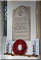 TG1506 : All Saints church - war memorial by Evelyn Simak