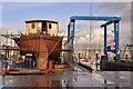 SX4953 : Boat hoist and work in progress, Mount Batten - Plymouth by Mick Lobb