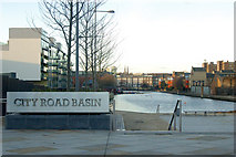 TQ3282 : City Road Basin sign, Regents Canal, London EC1 by Andy F