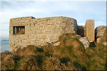 SW3526 : Higher of two 'pillbox' gun emplacements above Sennen Cove (2) by Andy F