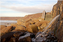 SW3526 : Drainage outfall below Sennen Cove car park by Andy F