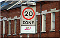 J3472 : 20mph zone sign, Belfast by Albert Bridge