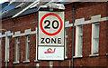 J3472 : 20mph zone sign, Belfast by Albert Bridge