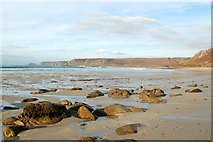 SW3526 : Looking northeast towards Cape Cornwall from Sennen Cove by Andy F