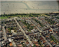 TQ8485 : Aerial view of Southend seafront: Leigh Cliffs and Cliff Parade by Edward Clack