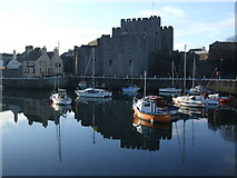 SC2667 : Castle Rushen and outer harbour Castletown by Richard Hoare