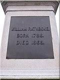 SJ3787 : Sefton Park - NE plaque on the Rathbone statue by John S Turner
