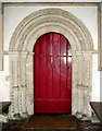 TL9889 : St Ethelbert's church - the Norman south doorway by Evelyn Simak