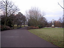 SJ3787 : Sefton Park - a park road and the Rathbone statue by John S Turner
