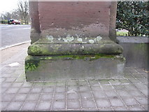 SJ3787 : Sefton Park - perimeter wall bench mark #5 by John S Turner