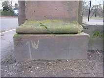 SJ3787 : Sefton Park - perimeter wall bench mark #8 by John S Turner
