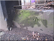 SJ3787 : Damaged bench mark at #16/#17 Aigburth Drive by John S Turner