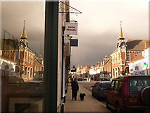 SY9287 : Wareham: Town Hall reflection in South Street by Chris Downer