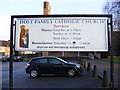 SU3814 : Holy Family Catholic Church Sign by Adrian Cable