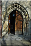 SU3521 : Entrance to Romsey Abbey by Philip Halling
