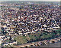 TQ8485 : Aerial view of Southend seafront: Leigh Cliffs west by Edward Clack