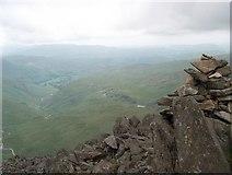 NY2406 : Summit cairn on Bowfell by Bill Boaden